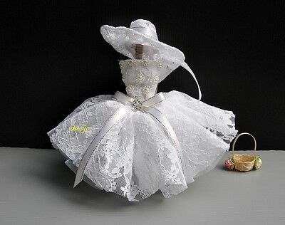 Vintage style Party Costumes for Barbie, Dolls Dress up Clothes White, 3+years