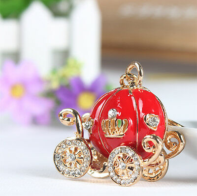 Hot Fashion Red Pumpkin Carriage Lovely Charm Pendent Crystal Keyring Chain Gift