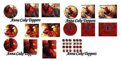 Personalised Spiderman Cake Cupcake Toppers A4/A3 up to 16 inch