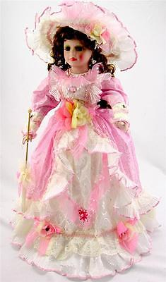 """COLLECTIBLE PORCELAIN VICTORIAN PRINCESS DOLL PINK AND WHITE DRESS  22""""H"""