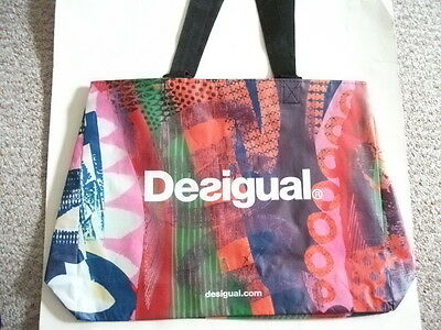 DESIGUAL LARGE MULTI-COLOR PINK ECO SHOPPING REUSABLE TOTE BAG NEW CONDITION