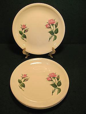 VINTAGE PADEN CITY SET OF 4 MOSS ROSE DINNER PLATES MADE IN U.S.A.