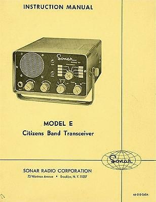 SONAR Model E  OWNERS MANUAL + Schematic CB Radio Book on CD PDF