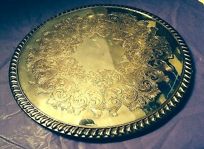 Vintage Wm ROGERS Silver Plate SILVERPLATE Round TRIVET Etching TRAY Serving PC