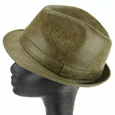 Trilby Hat Olive Green Distressed Worn Leather Look Retro Ska Rudeboy