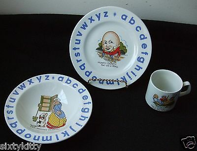 Mother Goose ABC Plate,Vintage Children's  Bowl & Cup Numbered, Wood & Sons
