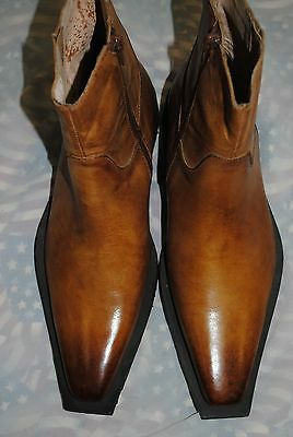 CARRUCCI MILANO DRESS BOOTS COGNAC  ANKLE SIDE ZIP  MENS BOOT BRAND NEW    W