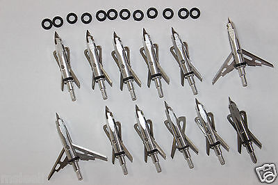 12Pcs classic Broadheads 2 Blade 100Grain Silver Hunting Arrow Point for Hunting