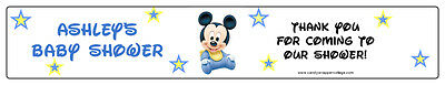BABY MICKEY OR MINNIE SHOWER Waterproof Water Bottle Labels Personalized Favors