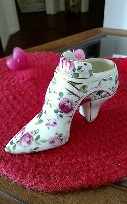 Formalities By Baum Bros Porcelain Glass Slipper With Rose Design