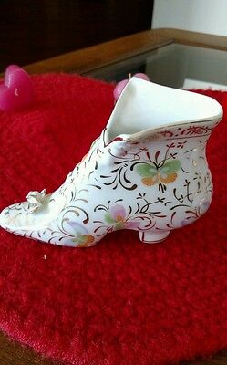Formalities By Baum Bros Porcelain Glass Slipper With Butterfly Design