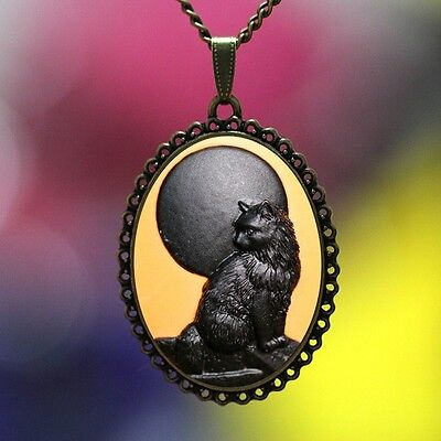 Vintage Beautiful Big Cameo BLACK MOON CAT Pendant Necklace High Quality Lace