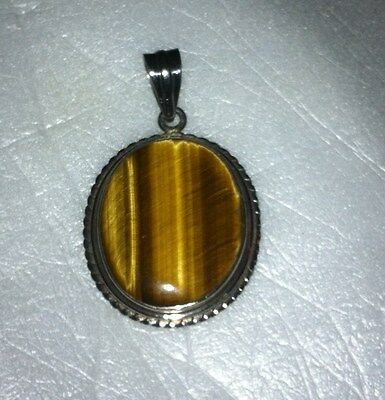 Vintage Heavy Sterling Silver Golden Tigers Eye Pendant - Very Nice !! 925 Large