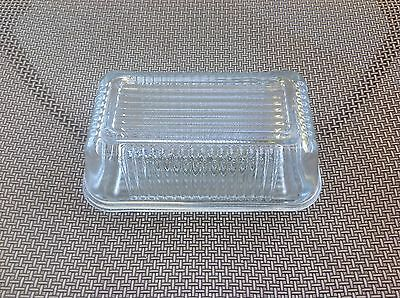 Pasabahce large clear glass butter refrigerator dish - Ribbed - MINT