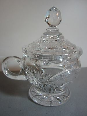 Clear Hand-Cut Heavy Crystal Covered Sugar Bowl - Excellent Condition!
