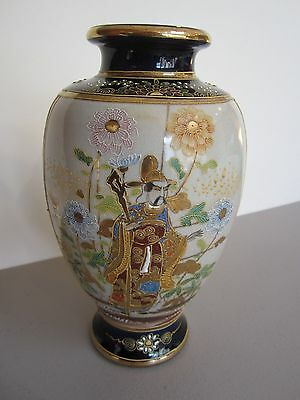 Stunning White and Blue Satsuma Vase with Gold Decoration - Excellent Condition!