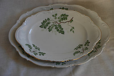 mitterteich bavaria green leaves serving platters, set of 2