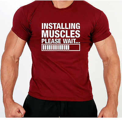 Installing Muscles Fit  - T Shirt Top Gymwear Body Builder Weights Stringer Tee