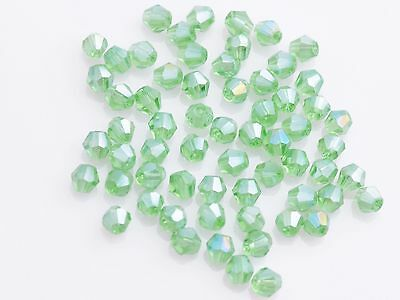 New 50Pcs AB Lt Green Glass Crystal Jewelry DIY Findings Bicone Loose Beads 4mm