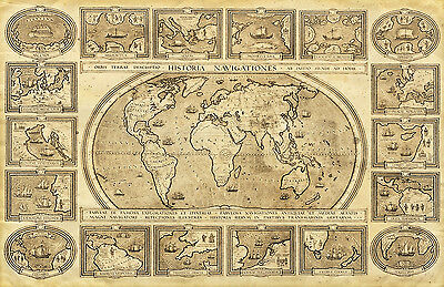 Superb Antique Style Map Of The World Canvas #8 Ancient Map A1 Canvas Picture