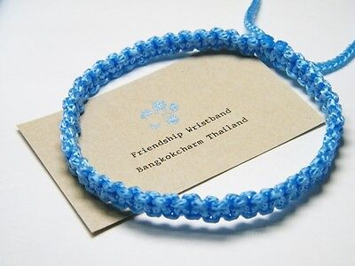 Authentic Thai Blessed Buddhist Wristband Fair Trade Wristwear Light Blue