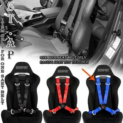 """4-POINT RACING SAFETY HARNESS CAMLOCK 2"""" INch STRAP SEAT BELTS MOUNTING BLUE"""