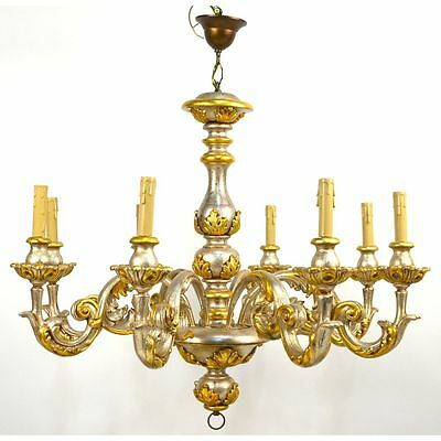 Carved & Painted 8 Light Wooden Italian Rococco Chandelier, ca. 1970