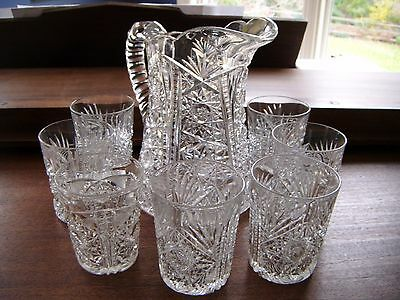 AMERICAN BRILLIANT CUT GLASS PITCHER  WITH 6 GLASSES. + EXTRA GLASS.