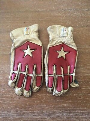 1960'S VINTAGE CUSTOM LEATHER WOMENS MOTORCYCLE FLAT TRACK GLOVES