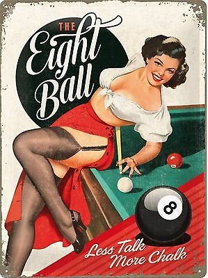 A3 Retro Tin Metal Embossed Sign 'EIGHT BALL' 1950's Vintage Style Pin up Pool
