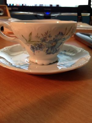 Vintage Tea Cup and Saucer INARCO Japan E-4771 Blue Cornflowers