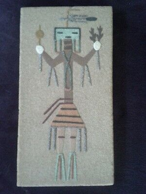 "Vintage Navajo American Indian Sand Art Signed Approx 8""x4"""