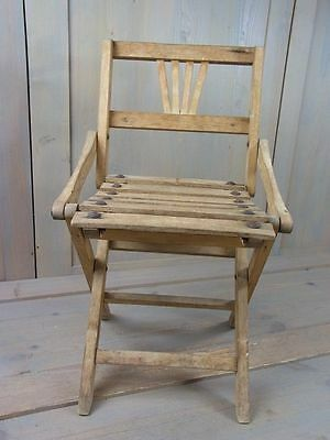 ZQ5 * Wooden Children Doll Chair Collapsible Folding * Antique German 1930's