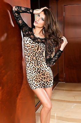 Sexy Lace Top Sleeve Leopard Brown Black Elegant Fashion Mini Dress LC2458
