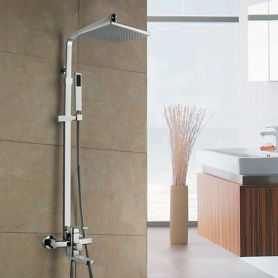 "AA101 12"" Bathroom Rainfall Wall Mounted With Handheld Shower Head Faucet Set"