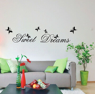 Stylish Sweet Dreams Quote Butterfly Wall Sticker Black 70*25cm Vinyl Art Decals