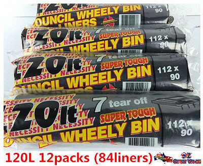 Black 120L Rubbish Garbage Bags Council Wheelie Bin 84 Liners Wholesale (12PK)
