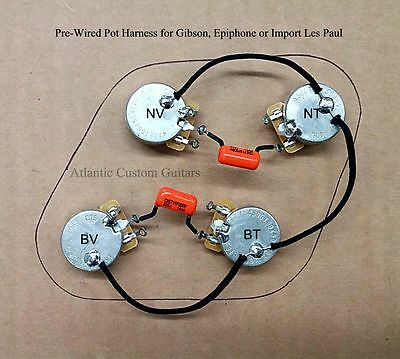 upgraded 50s style wiring harness - fits les paul , cts 500k long shaft  pots,