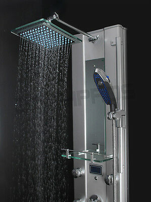 Aluminum Shower Tower Head Tub Spout&Thermostatic Control Panel LED Display