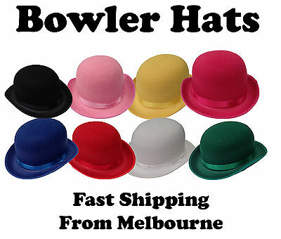Bowler Hats coloured hard feltex hat english style fancy dress