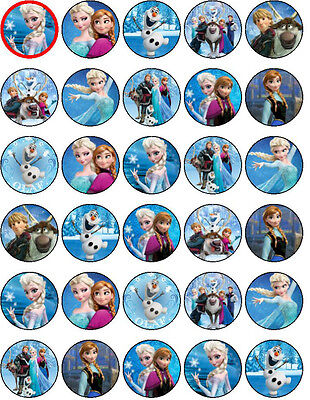 30 PRE CUT Disney Frozen Edible WaferPaper Cupcake Decoration Party Toppers