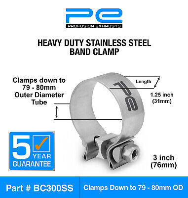 """3"""" inch 76mm Stainless Steel Band Clamp heavy duty exhaust band  BC300SS"""