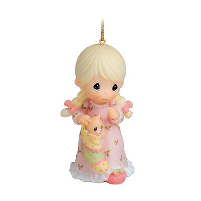 Precious Moments Girl With Kitty In Stocking Ornament 690068 NIB