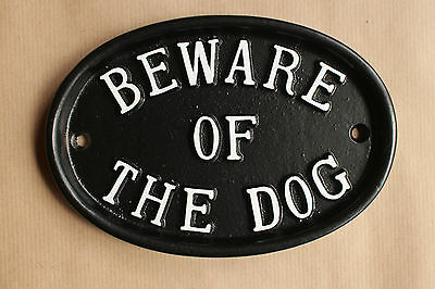 Large Beware Of The Dog Sign Warning Black Cast Antique Style Garden Warn-06-bl