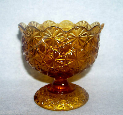 Vintage Amber L.G.Wright Daisy and Button Footed Candy Dish or Bowl