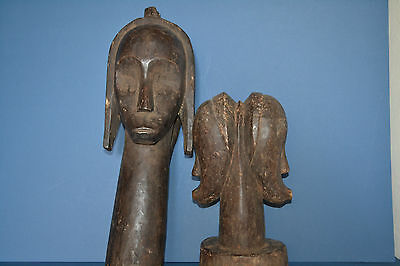 Pair Vintage African Fang Tribal Reliquary Hand Carved Wood Statues ,c 1950