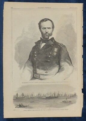 William T. Sherman. Weitzel's Texas Expedition. Original Wood Engraving. 1865