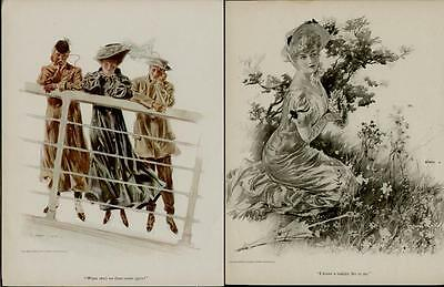 1906 & 1908 Life Magazine Pages / 2 - Pages Artists: Henry Hutt      #n092