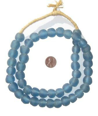 African Recycled Glass Beads - 14mm (Light Blue) Ghana