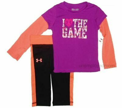 Girls Under Armour Shirt Pants 2 piece Set Sports Athletic Outfit Top bottom